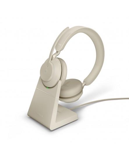 Jabra Evolve2 65 MS inklusive laddställ USB-A beige stereo headset