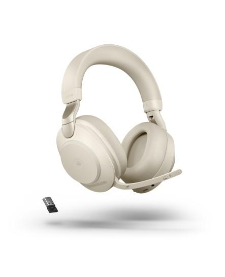 Jabra Evolve2 85 MS inklusive laddställ 3,5 mm USB-A beige stereo headset